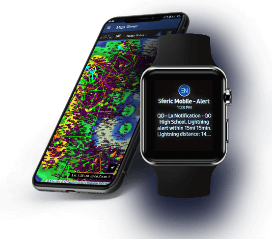 Professional weather software visible on mobile phone and smart watch showing a real-time weather map and real-time weather alerts