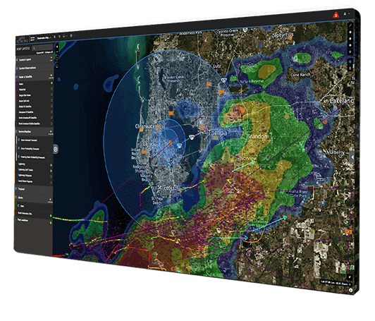 Image of Sferic Maps real-time weather map with weather detection alerts on display