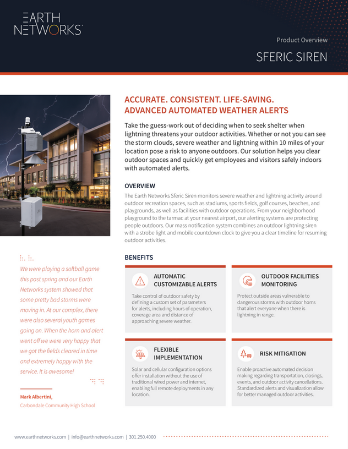 Sferic Siren lightning horn and outdoor weather safety solution datasheet