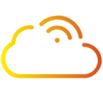 Yellow gradient cloud icon with wifi icon on top