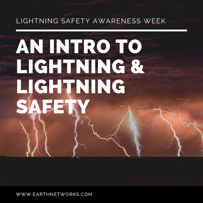 "The title ""AN INTRO TO LIGHTNING & LIGHTNING SAFETY"" with lightning strikes in the background"