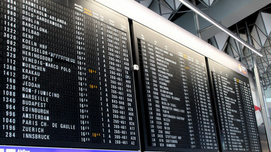 An airport arrival/departure board