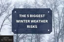 "A snow winter scene complete with bare trees and the text: ""The 5 Biggest Winter Weather Risks"""
