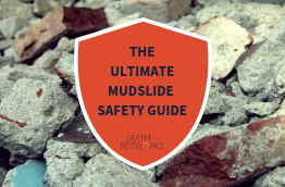 "Rocks and rubble in the background with a title that says ""The Ultimate Mudslide Safety Guide"""