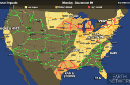 A map of the U.S. showing the weather-related holiday travel impacts for Monday, November 2019