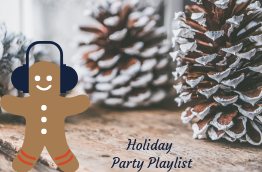 "Gingerbread man with headphones on a festive table top and the words: ""Holiday party playlist"""