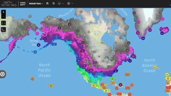Image of temperature gradients from Sferic Maps weather visualization tool during polar vortex in 2019
