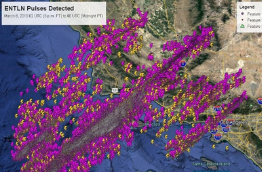 Earth Networks Total Lightning Network in-cloud and cloud-to-ground lightning pulses over California during rare thunderstorm event