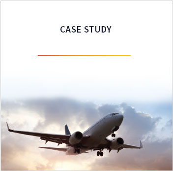 Picture of a plane in flight with sun peaking through storm clouds in the background. The words Case Study are above the image.
