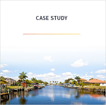 The words case study with an orange bar underneath. The background image is of a stream in Florida with a few clouds and blue skies with palm trees and buildings lining the stream