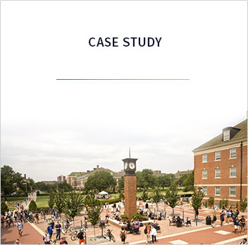 View of busy college campus with cloudy skies and the word Case Study above
