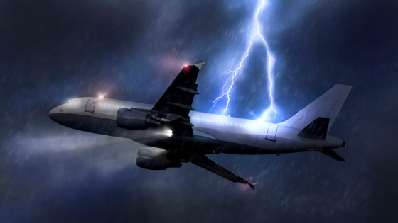 A bolt of lightning striking a plane while the plan is in-flight