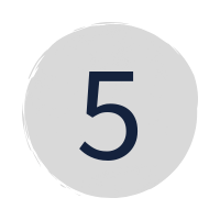 "a dark blue ""5"" in a grey circle"