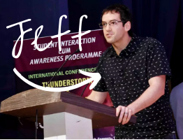 An image of Earth Networks Lightning Scientist, Jeff Lapierre, presenting at an international conference wearing a shirt with little lightning bolts on it