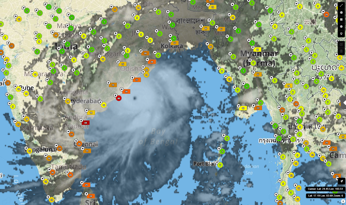 Satellite image of Fani off the coast of Odisha, India with current wind gust information from Sferic Maps