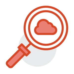 Magnifying glass with a cloud in the middle