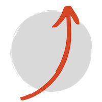 a red arrow pointing up in front of a grey circle