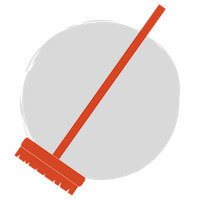 A red broom on a grey circle background