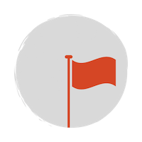 Red flag icon with a grey circle background