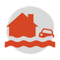 A red icon with a house and car underwater