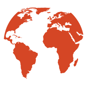 A red map of the world showing North America, South America, Europe, Africa, and a small part of Asia