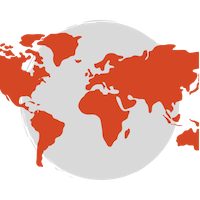A red map of the world over a grey circle background