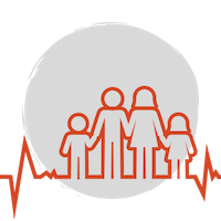 A red heartbeat line that becomes the shape of a family: a child, a father, a mother, and another child, before turning back into a heartbeat graph over a grey circle background