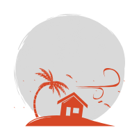 A small red palm tree and house on apiece of land being blow by the wind to the right. Grey circle in the background