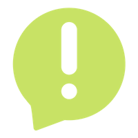 Transparent exclamation point in a light green text bubble