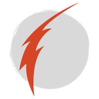 A skinny red lightning bolt over a grey circle