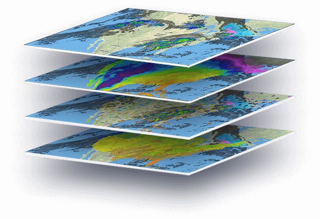 Four real-time weather map data layers stacked on top of each other with various weather layers like hurricane tracking, radar, and satellite