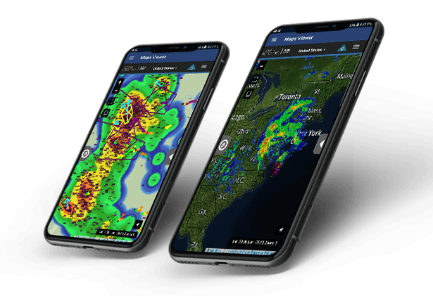 Two mobile phones with our real-time weather software application, Sferic Mobile, displayed