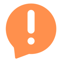 Transparent exclamation point in an orange text bubble