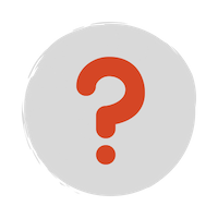 A red question mark over a grey circle background