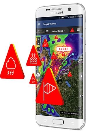 Lightning warning system alerts on Sferic Mobile weather tracking application