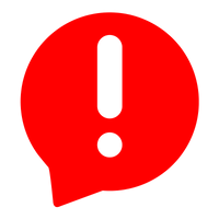 Transparent exclamation point in a red text bubble