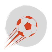 A red soccer ball over a grey circular background