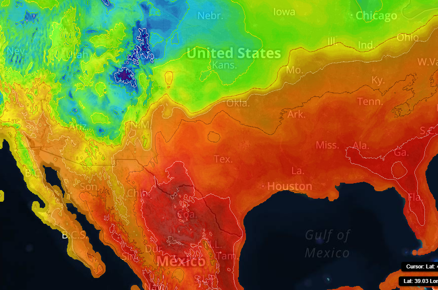 Temperature Contour on Sferic Maps showing warm temps moving up from the Gulf into Texas and Oklahoma