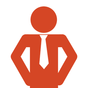 A red icon of a man with hands on his hips and a white tie