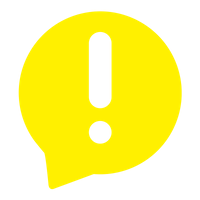 Transparent exclamation point in a yellow text bubble