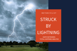 "lightning striking a field with the title ""Motorcyclist struck by lightning, Earth Networks Total Lightning Analysis"""