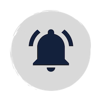 Blue bell icon with two lines representing sound on a grey circle background