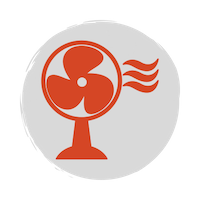 Red fan icon