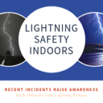 "Blog tile ""Lightning safety indoors"" with two pictures of lightning scenes"