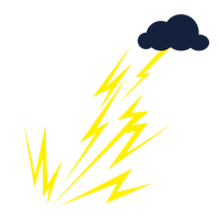 A dark blue thundercloud with a bunch of bright yellow lightning strikes extending downward from it