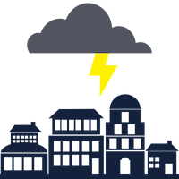 Icon of a thundercloud with a lightning bolt headed towards buildings