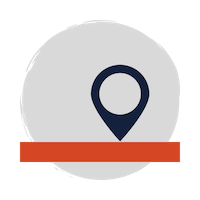 blue point on a map icon on a red map