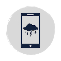 Blue phone icon with blue thunder cloud and lightning strike on the screen