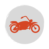 Red motorcycle icon on a grey circle background