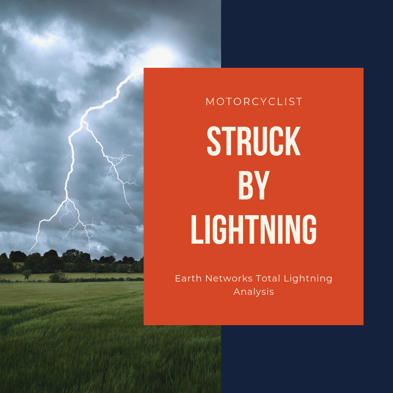 "A lightning striking a field with the written title: ""Motorcyclist struck by lightning 